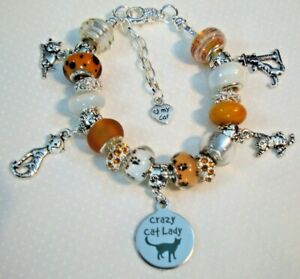 Crazy about orange tabby cats lady European charm bracelet Murano beads crystals