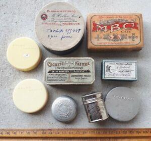 Lot 9 Boite Médicament ancienne pharmacie faivre laxatif colgate maubeuge / box