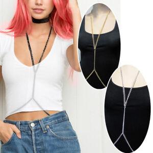 Bikini Crossover Gold/Silver Body Harness Bra Chain Waist Belt Lingerie Jewelry