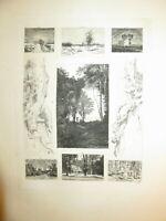 Ecole FRANCAISE XIX EAUX FORTES PAYSAGE MINIATURE CROQUIS ECOLE BARBIZON 1875