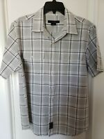 Calvin Klein Jeans Short Sleeve Button Front Shirt - Medium - Gray/Black Plaid