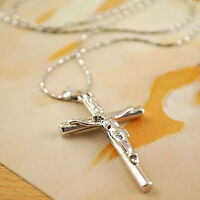 Christ Cross Punk Silver Plated Jesus Crucifix Sword Necklace Pendant