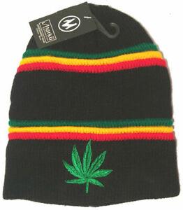 Weed Beanie Hat Cannabis Herb Warm Adults Mens Ladies Woolly Ski Winter Black