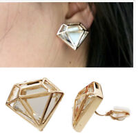 Girls Womans Gold Tone Diamand Shape Superwoman Diamante CLIP ON Earrings Studs