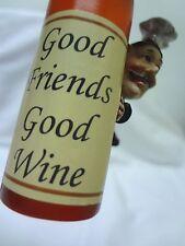 GOOD FRIENDS GOOD WINE*Vintage Wine Bottle*Chef*Cork*Hanging ORNAMENT*FREE SHIP
