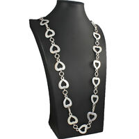 Dress wear a quirky matte silver colour heart charm link long fitting necklace