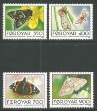 Faroe Is 1993 Local Butterflies--Attractive Insect Topical (256-59) MNH