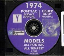 PONTIAC 1974 Bonneville, Catalina, GTO, Tempest, Fire Bird Shop & Body Manual CD