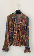 VIOLET & CLAIRE Multicoloured PAISLEY RUFFLE Shirt Top Boho Large