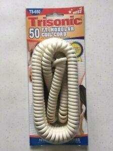50 Feet Telephone Modular Coiled Handset Cord (IVORY), RJ9, 50ft, 50'