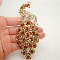Art Nouveau Topaz Crystal Peacock Bird Pendant Brooch Pin Rhinestone Crystal