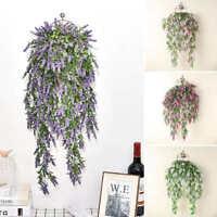 1pc Artificial Hanging Lavender Vine Flower Rattan Garden Home Fake Plant Decor