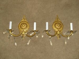 2 SOLID BRASS SPAIN 2L SCONCES EXC COND. NO ISSUES FINE CRYSTALS 11 WX10 HX4 OUT