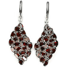 Sterling Silver 925 Genuine Natural Deep Red Garnet Mixed Cut Cluster Earrings