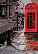 Fleet Street Rain.  Original Mixed Media Painting on Canvas