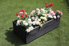 1 METRE LARGE WOODEN GARDEN PLANTER TROUGH EXTRA WIDE IN CUPRINOL BLACK DECKING