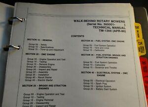 JOHN DEERE WALK BEHIND ROTARY MOWER  TECHNICAL SERVICE MANUAL TM-1369 APR-1986