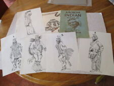 VINTAGE 16 NATIVE AMERICAN PLACEMATS, 5 INK DRAWINGS, SIGNED &1948 COLORING BOOK