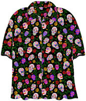 "SUGAR SKULLS ""DAY OF THE DEAD"" Hawaiian Camp Shirt - by David Carey - BRAND NEW!"