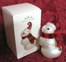 HALLMARK 2010 GLASS SNOWMAN ORNAMENT~WHAT'S SNOWING ON?