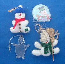 Christmas ornaments puffy snowman acrylic clown & mini pin ball set of 4