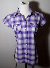 Women's ARIZONA Purple Short Sleeve Button Shirt Size S NWT