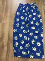 Vintage F.L. Malik Long Blue Skirt With Daisy Print 100% Cotton  - Size US 8