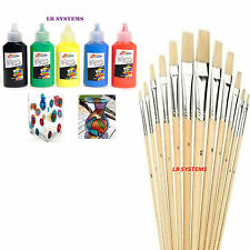 5 Pk GLASS PAINTS VIBRANT FAST +12 PC ASSORTED WOODEN HANDLE ARTIST's BRUSHES
