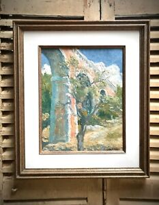MODERN FRENCH OIL on CANVAS. JEAN JULIEN. OLIVE TREE, ROMAN AQUEDUCT, PROVENCE.