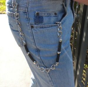 New Men's Wallet Jean Chain Leather Key Ring Attachment Silver Bikers Truckers