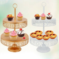 2Pc 2-Tier White Metal Cupcake Stand 10-12inch for Birthday Wedding Party us