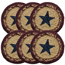 6/Set, Potomac Stencil Star Jute Coasters Country Primitive Farmhouse  4 inch
