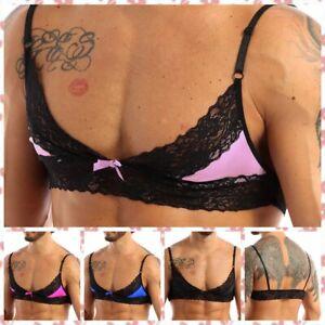 Mens Crossdresser Sissy Lace Bralette Wire-Free Unlined Bra Tops Lingerie M-XL