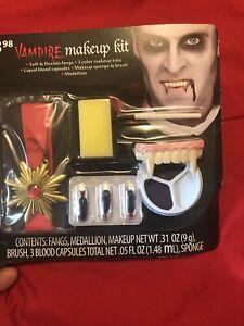 Count Dracula Vampire Make Up Kit Halloween Horror Fangs Blood Capsule Medallion