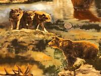 Fabric Nature Studies Wolves Elk Bear National Parks Cotton 1 Yard Large Print