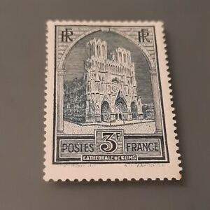 TIMBRE YT N° 259 NEUF * - CATHEDRALE DE REIMS TYPE 1 - GOMME ORIGINALE TB