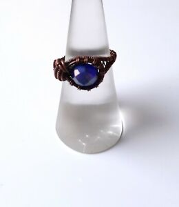Handmade Oxidised Copper Wire Wrapped Blue Faceted Glass Bead Ring Size L 1/2/6