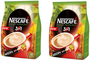 2 x NESCAFE Choco Hazelnut 3in1 Instant Coffee 10 Sticks Bag 160g 5.6oz