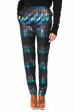 KENZO PARIS MOTH BUG INSECT METALLIC LUREX JACQUARD PEPLUM TROUSERS 38 10 6!