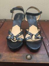 Michael Kors Black Leather Braid Wedge Sandals Size 9M NWOB