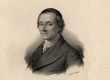 Portrait de Jean Gaspard Lavater Lithographie originale XIXème
