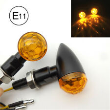 12V ATV Scooter LED Turn Signal Light Amber Indicator Lens Black CNC BulletShape