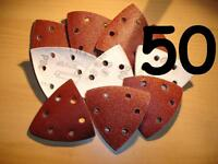 50 - 90 mm 120 grit  Triangle   Delta Detail Mouse  Sanding sheets Pads Velcro