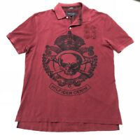 Tommy Hilfiger Mens Rugby Polo Shirt Custom Fit Skull Crossbone Red Size Large