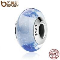 Bamoer Fine Authentic S925 Sterling Silver Blue Murano Bead Fit Bracelet Jewelry