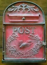 Red Metal Mailbox Post Box Letterbox for Mail or Wedding Wishing Well