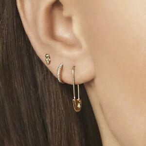 Safety Pin Earrings Pair Dangle Ear Piercings Gold Ear Studs Helix Earring Hoop