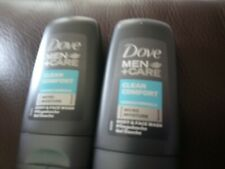 2 x Dove Men + Care Clean Comfort Body & Face Wash - 55ml Travel Size-travel siz
