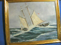 Vintage Oil Painting Two Mast Sailing Trawler Rolling in Rough Sea