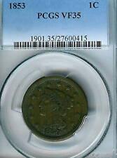 1853 Braided Hair Large Cent : PCGS VF35